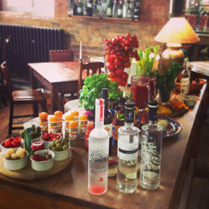 The Tomato Table is set up for everyone to mix their own Bloody Marys!!
